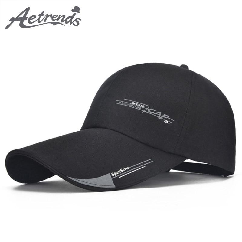 db40997cbd9 Detail Feedback Questions about  AETRENDS  Black Trucker Cap Long Visor  Sports Caps Baseball Hat Men Mark Bone Aba Reta Hip Hop Hats for Men Snap  Back Z ...