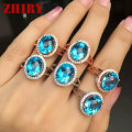 Women natural blue topaz gems ring 925 sterling silver fire gemstone Lady's jewelry