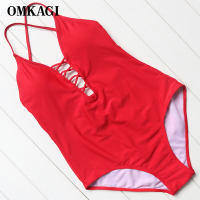 OMKAGI Brand Swimwear Women One Piece Swimsuit Sexy Push Up Bodysuit Bandage Swimming Bathing Suit Beachwear