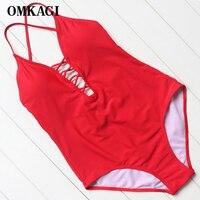 OMKAGI Brand Swimwear Women One Piece Swimsuit Sexy Push Up Bodysuit Bandage Swimming Bathing Suit Beachwear