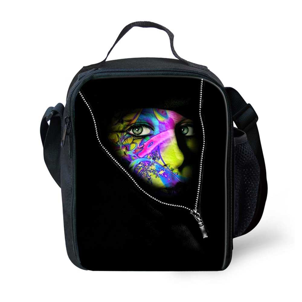 Trendy Portable Insulated Polyeste Lunch Bag Mask Print Thermal Food Picnic Lunch Bags Women Kids Cooler Lunch Bag Tote