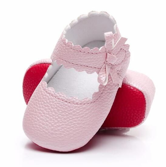 Sweetly Sidebow Style Baby Girls Shoes Soft PU Leather Mary Jane Ballet Dress Shoes Infant Toddler Moccasins Red Sole Shoes