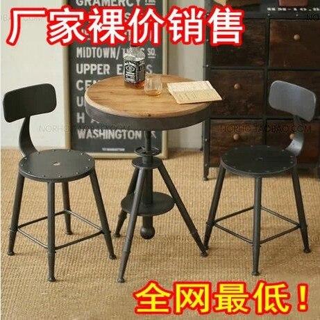Hierro mesa redonda casual café bar pequeño mesa redonda y sillas de ...