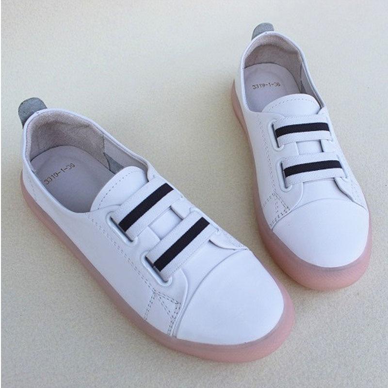 Frauen Schuhe Slip auf Weiße Müßiggänger 100% Echtem Leder Frau Turnschuhe Damen Flache Schuhe (3319 1)-in Flache Damenschuhe aus Schuhe bei  Gruppe 2