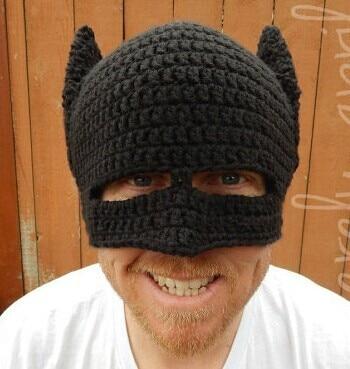50 pcs/lot Novelty Handmade Beanie Crochet Cool Batman Knitted Hat and Mask Helmet EarFlap Mens & Women Winter Cap Party gift