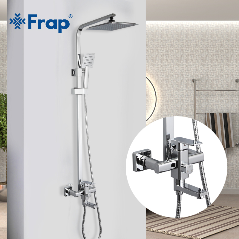 FRAP shower faucets bathroom shower mixer tap bathtub mixer faucet rainfall shower head set stainless shower