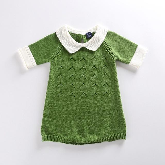 Nuevo 2016 Vestido de Algodón de Punto de Ganchillo Bebé Del Mameluco Niños Siete Infante Recién Nacido Niño Mono de La Manga Vestido de Suéter