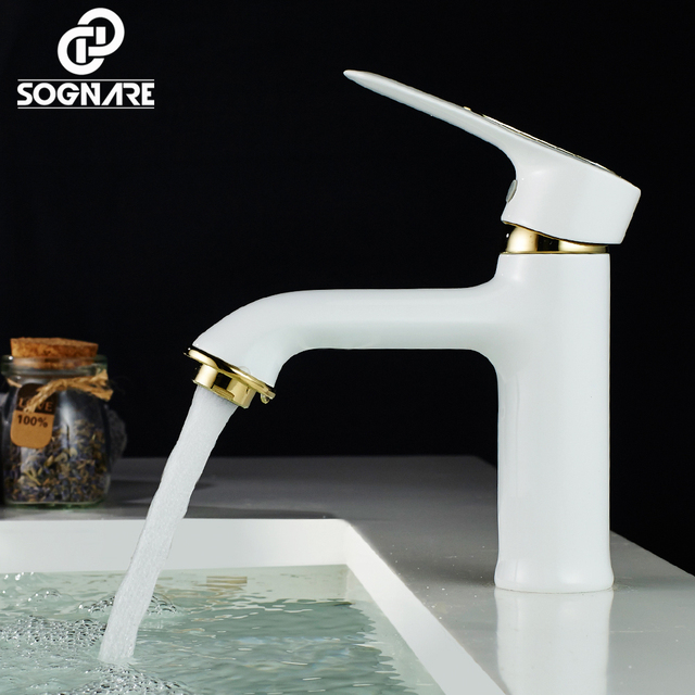 Sognare Copper Bathroom Faucet White Paint Bathroom Basin Faucet