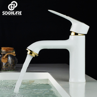 SOGNARE Copper Bathroom Faucet White Paint Bathroom Basin Faucet Sinks Mixer Vanity Tap Cold and Hot Deck Mount Torneira D1105W