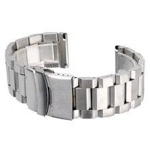 Faixa de Relógio de Aço Inoxidável Pulseira de prata Sólida Alça Ajustável de Metal de Alta Qualidade Pulseira 18mm 20mm 22mm 24mm Das Mulheres Dos Homens