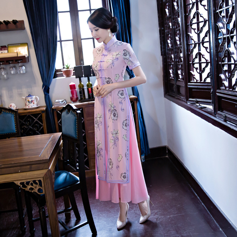 High Quality National Style Twinset Ladies Vietnam Ao Dai Dress Long Cheong sam Casual Dress Party
