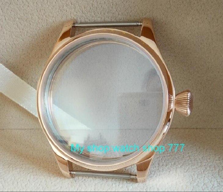 Caixa de Relógio Movimento a Forma Parnis Inoxidável Galvanizado 18 k Rosa Ouro Ajuste Eta 6497 – 6498 Diamante Coroa 014a 44mm 316l Aço