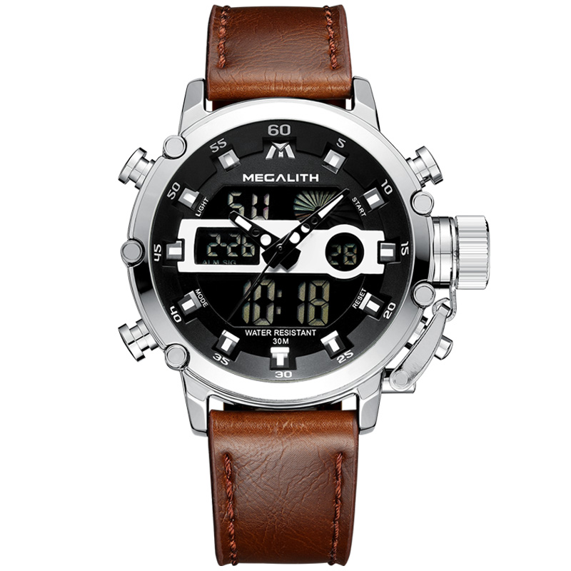 MEGALITH Quartz Watches Men Dual Display Daily Timer Multifunction Lux
