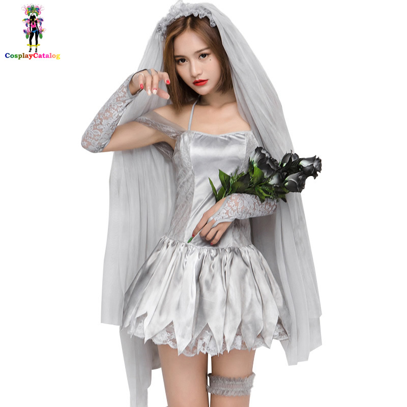 Silver & Gray Ghost Bride Costume For Women,Sexy Adult Party Women Halloween Cosplay Costumes Maid Servants Dresses