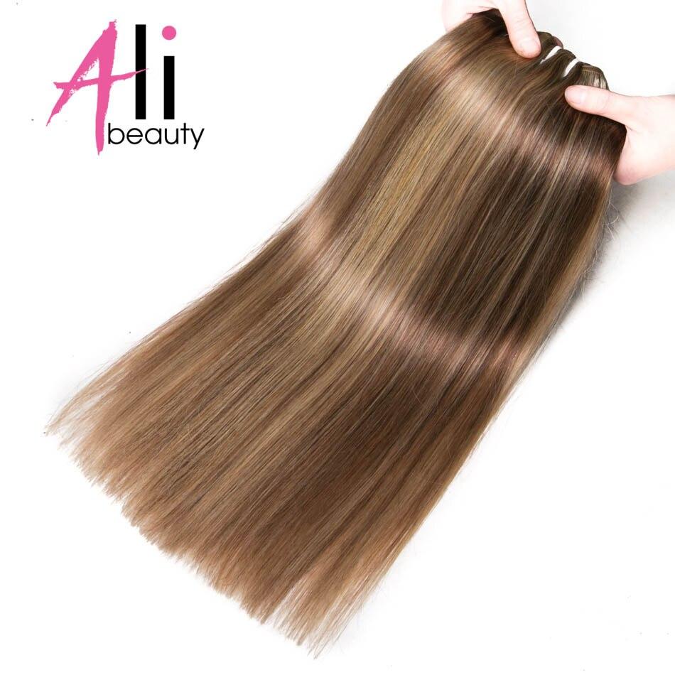 """Ali-schönheit 6 Farben # P6/613 18-24 """"100 Gramm Menschliches Haar Schuss 100% Remy Menschliches Haar Extensions Breite 120-130 Cm Supposrt Angepasst"""