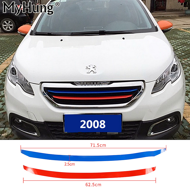 Front Grille Molding Lid Trim Air Intake Grid Strip Middle Net Decorative Sticker for New Peugeot 2008 2014 2015 2016