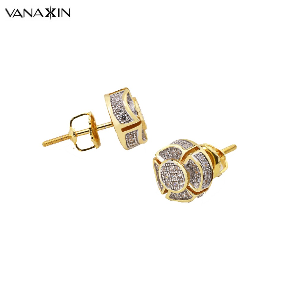 VANAXIN 925 Sterling Silver Stud Earrings Flower Zircons Stones Gold/ Silver Color Two Tone Earrings For Women Girl Lady Charms