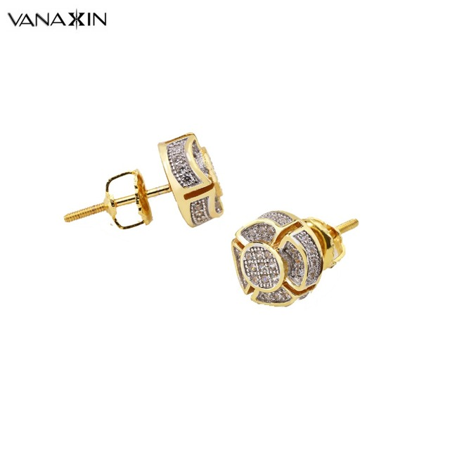 Vanaxin 925 Sterling Silver Stud Earrings Flower Zircons Stones Gold Color Two Tone