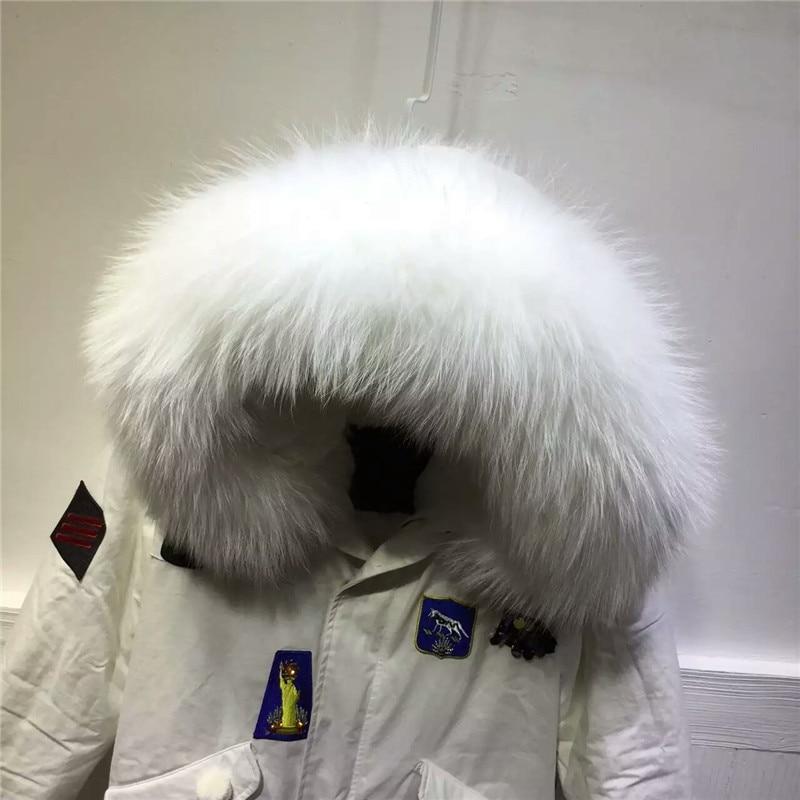 Réel Col À Motif Capuchon Fourrure Nouveau Élégante Pur Fleur Blanc Style Veste Manteau Italie D'hiver Conception De 6Y7vfgbIy