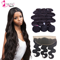 Ear To Ear Lace Frontal Closure With Bundles BodyWave Peruvian Virgin Hair With Closure Human Hair Full Frontal Lace Closure13x4