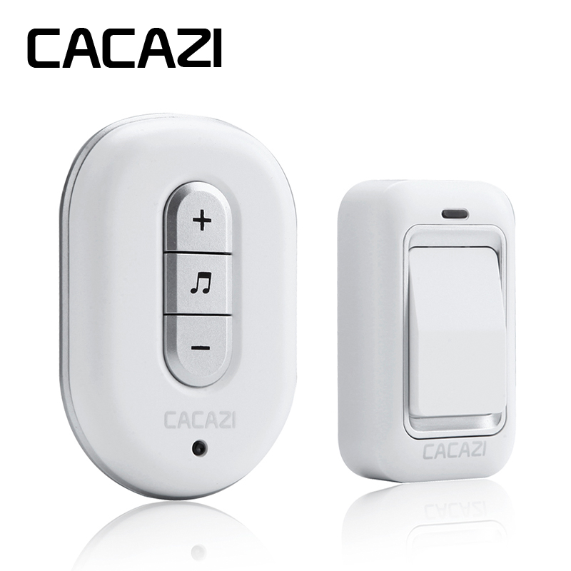 CACAZI Wireless DoorBell No Battery Need Waterproof smart Door Bell Cordless 120M Remote AC 110V-220V 1 emitter 1 Receiver cacazi dc wireless doorbell need battery 150m remote waterproof gate door bell chime ring wireless 36 tunes 1 emitter 2 receiver
