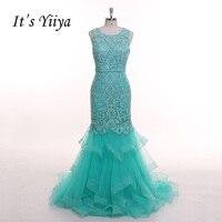 É YiiYa Sexo Luz Verde Ilusão Trompete Bordado Sereia Tulle Zipper Vestidos de Festa Formal Vestido de Noite Até O Chão T051