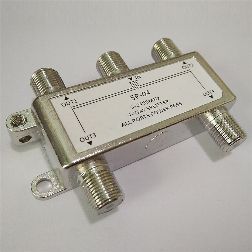 Hot Selling 4 Way 4 Channel Satellite/Antenna/Cable TV Splitter Distributor 5-2400MHz F Type Wholesale In Stock Drop Shipping