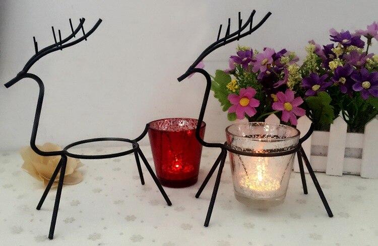 1 St Iron Herten Tafel Kandelaar Kamer Decoratie Benodigdheden Kerst Kaars Elanden Houder Gewoon Elegante Elanden Mk020