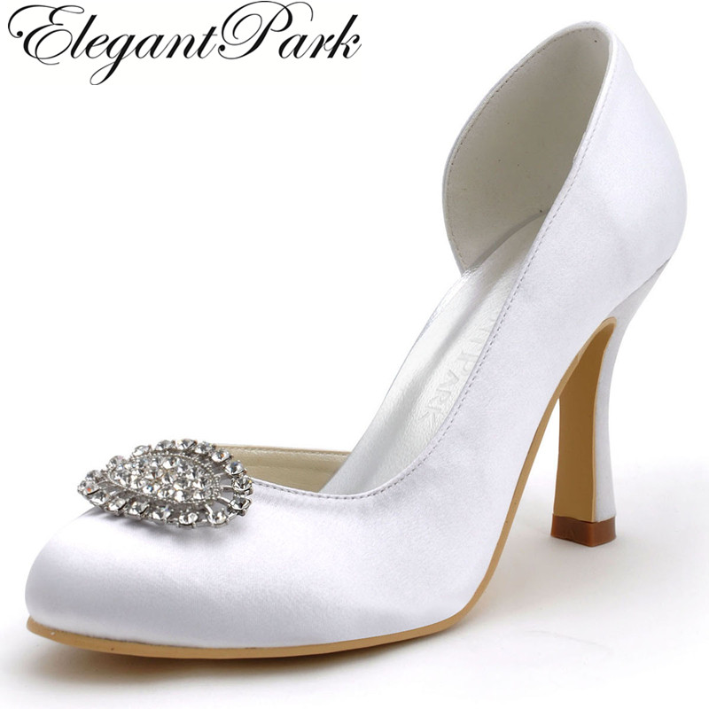 New Women Shoes White,Ivory,Silver EP2113 Round Toe Rhinestone High Heel Shoes Satin Wedding Bridal Pumps 2113
