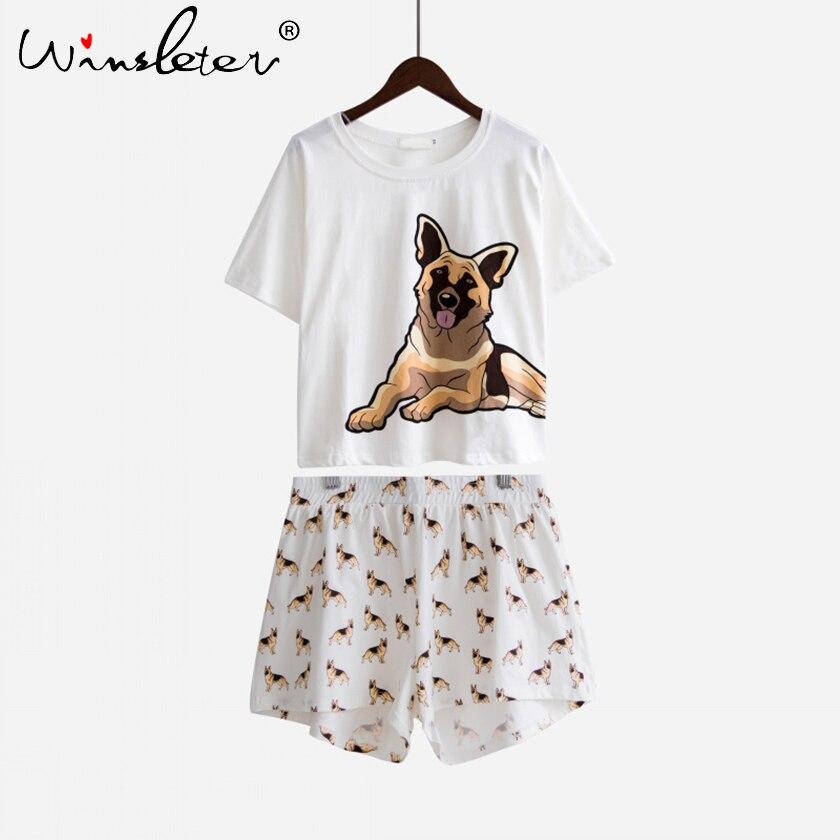 Image 4 - Ship From The US Women Pajama Sets German Shepherd Dog Print 2 Pieces Set Shorts Elastic Waist Loose Home Wear pyjamas S73901-in Pajama Sets from Underwear & Sleepwears on AliExpress