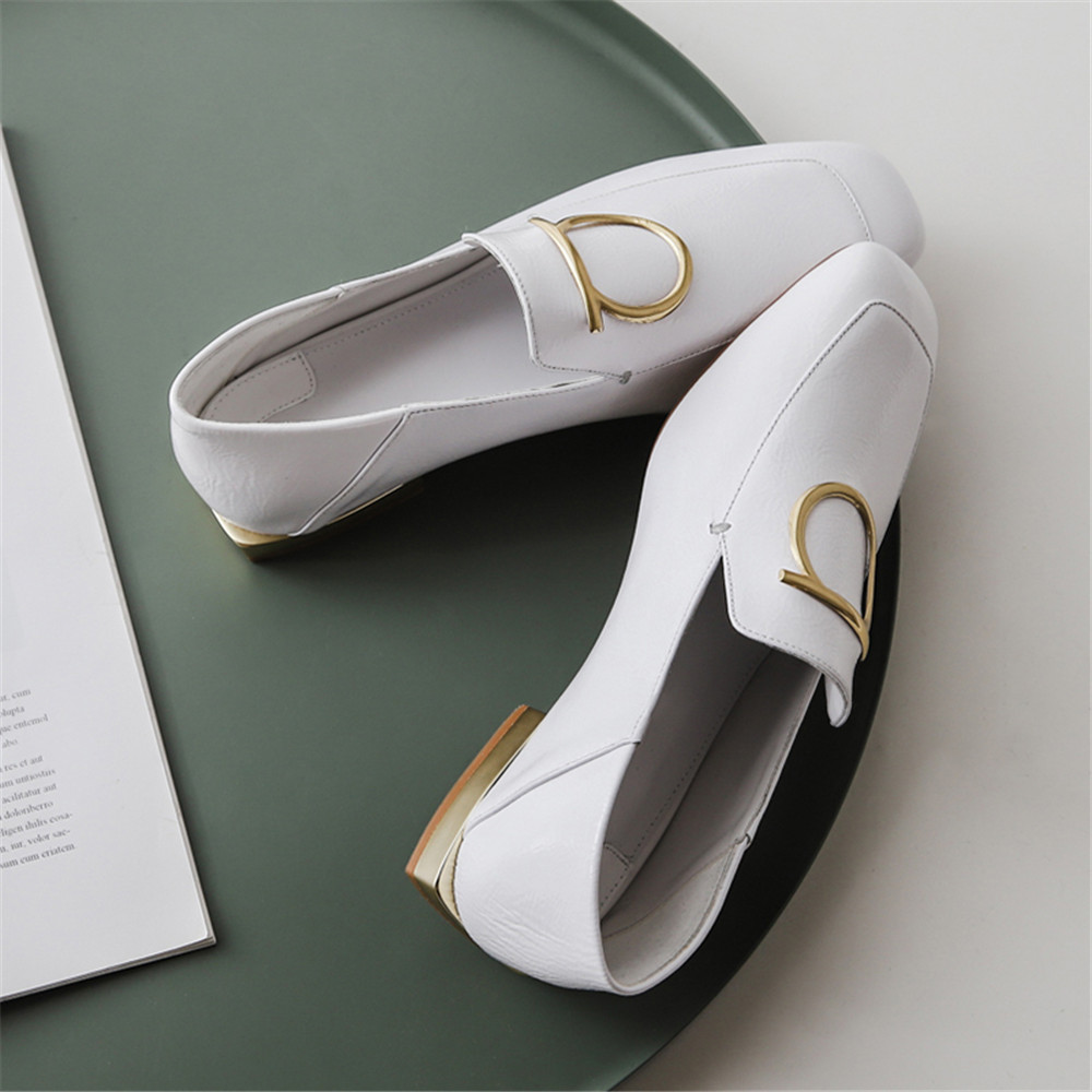 Kobiety marka buty mokasyny mokasyny prawdziwej skóry kwadratowych Toe mieszkania białe czarne na co dzień kobiet obuwie na co dzień MZP02 MUYISEXI w Damskie buty typu flats od Buty na  Grupa 3