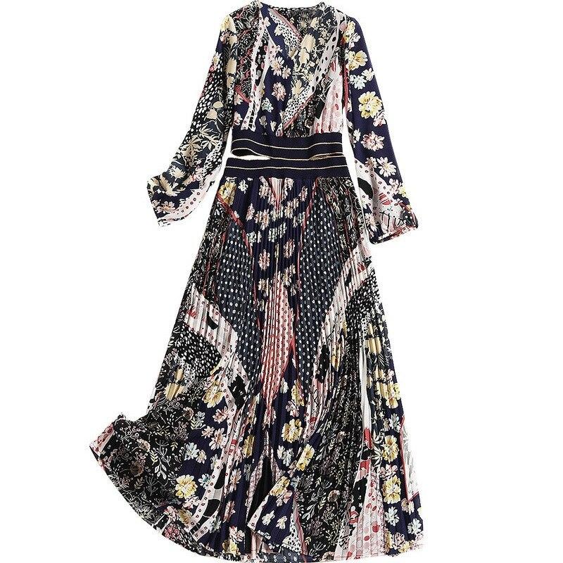 8cffcc36c66 À En Robe V 10170 Longues D impression 2019 Plissée Robes Soie Haute  Vêtements Printemps De ...