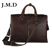 J.M.D 2017 New Arrival 100% High Grade Genuine Cow Leather Men's Brie fcase Laptop Shoulder Messenger Bag Handbag 7214