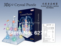 DIY 3D Flash Music Castle Crystal Puzzle 3D Assembling Building Puzzle Model Educational Toys With Colorful