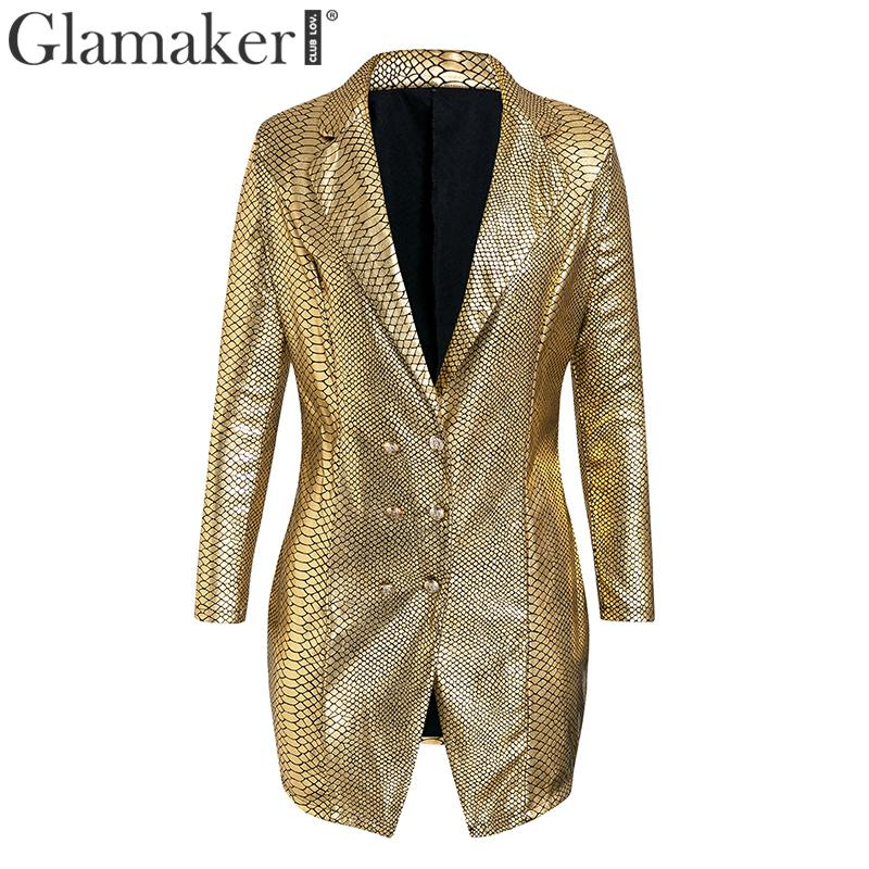 Glamaker Gold snake print sexy v-neck short dress Bodycon elegant buttons mini blazer dress Female 2019 autumn party club dress