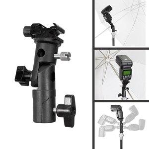 """Image 1 - E tipo de metal suporte flash universal sapato quente speedlite guarda chuva titular com 1/4 """"a 3/8"""" parafuso adaptador montagem giratória luz suporte"""