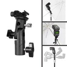 """Soporte de Flash de Metal tipo E, Zapata Universal Speedlite, soporte de paraguas con montaje de tornillo de 1/4 """"a 3/8"""", soporte de luz de adaptador giratorio"""