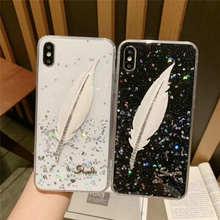 Fashion Glitter Silicone Feather Case For Vivo Y85 Y97 Y66 Y67 Y83 Y75 Y93 V11i X7 X9 X20 Plus V15 Pro Soft TPU Back Cover