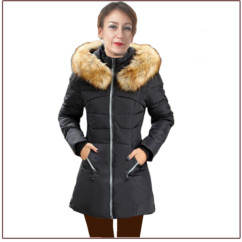 ФОТО 2016 New Down Parka for Woman Solid Slim Down Jacket for girl with fur hat multi color Woman down jacket Lady winter parkas