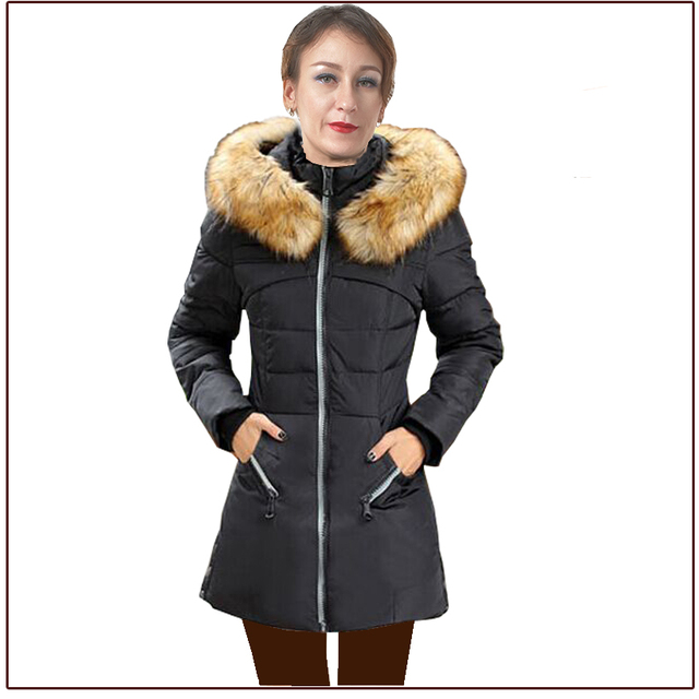 2016 New Down Parka for Woman Solid Slim Down Jacket for girl with fur hat multi color Woman down jacket Lady winter parkas