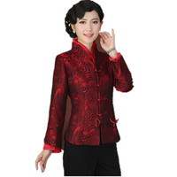 High Quality Red Lady Polyester Coat Middle Aged Mother Casual Jacket Single Breasted Flare Sleeve Jacket Size S To XXXL