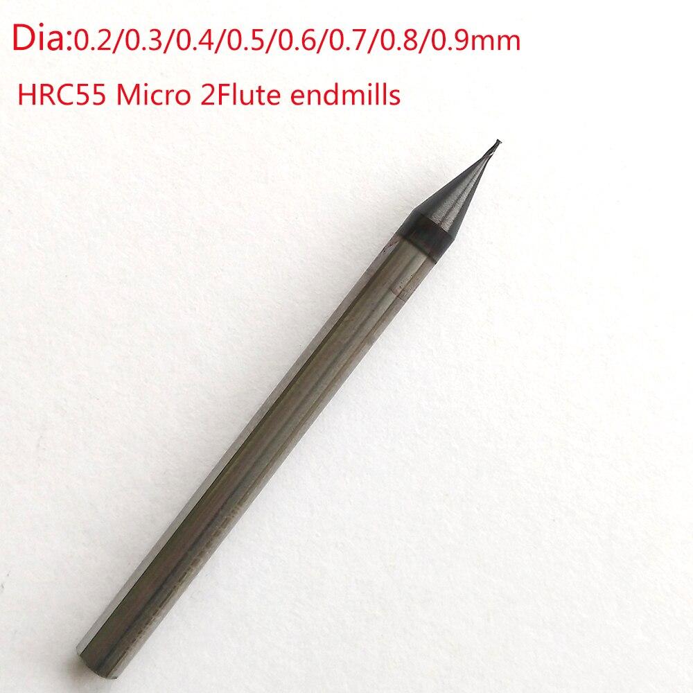 Jerray 0.2/0.3/0.4/0.5/0.6/0.7/0.8/0.9mm 2 flute HRC55/HRC60 Micro Carbide Flat End Mill CNC Milling Router Bits 5pcs 0 5mm micro grain tungsten carbide flat end mill 2 flutes hrc55 cnc milling cutters router bits