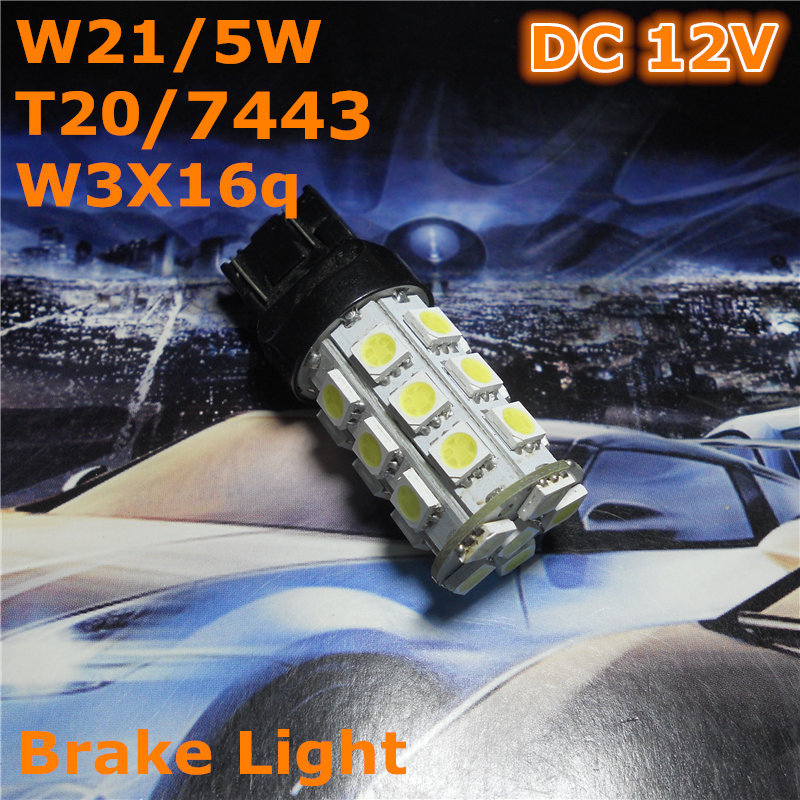 12 V-os LED (27 * 5050SMD) W21 / 5W T20 W3X16q / 7443 izzólámpa dupla vonal a hátsó fékvilágításhoz