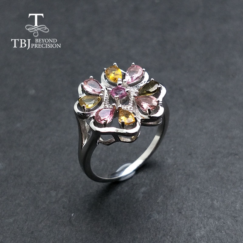 TBJ multi color tourmaline rings natural Brazil gemstone Simple flower design 925 sterling silver fashion jewelry