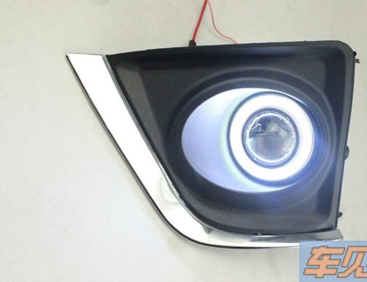 LED DRL daytime running light COB angel eye, projector lens fog lamp with cover for toyota corolla 2014, 2 pcs brand new superb led cob angel eyes hid lamp projector lens foglights for toyota corolla ex 2013