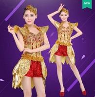 Джаз танцевальные костюмы для женщин Золотой джаз танец платье для джазовых танцев Одежда китайский джаз танец одежда современная Танцы R к...