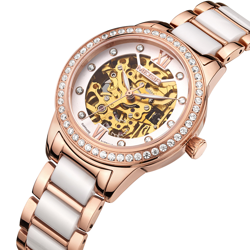 MEGIR Top Brand Luxury Automatic Mechanical Watches Diamond Watch Women Waterproof Ladies Wristwatch Clock relogio feminino цена