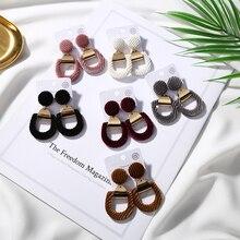 Trendy Statemet Drop Earrings for Girls Woman Fashon Jewelry Hollow Pink Velvet Geometry Earrings 2O18 New Arrivals