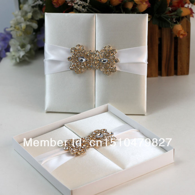 Hi2003 Hot Silk Folio Wedding Invitation With Rhinestone Brooch