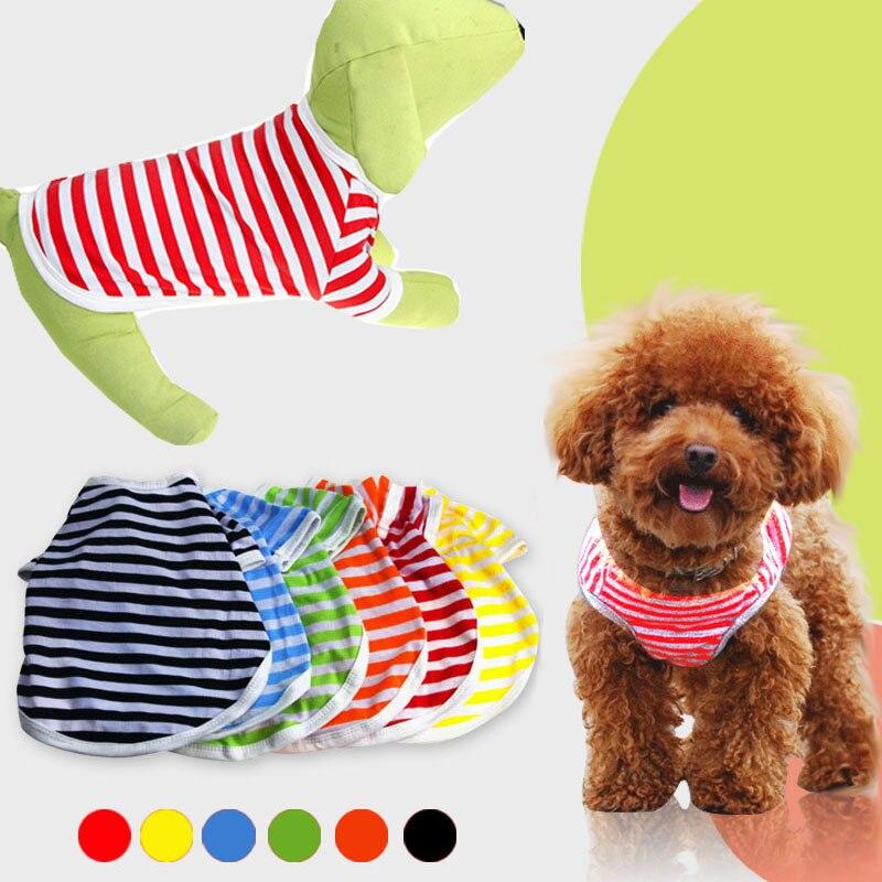 Собака Полосой Футболка Pet Puppy Cat Мягкий Пальто Хлопок Одежда Одежда Лето Жилет